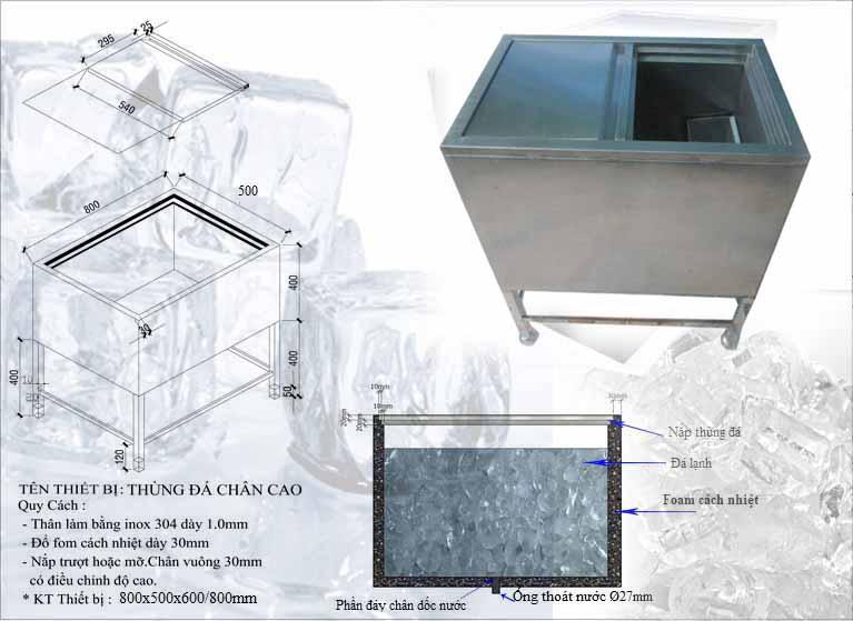 Thùng chứa đá inox TD01thùng đá inox, thùng đá bar