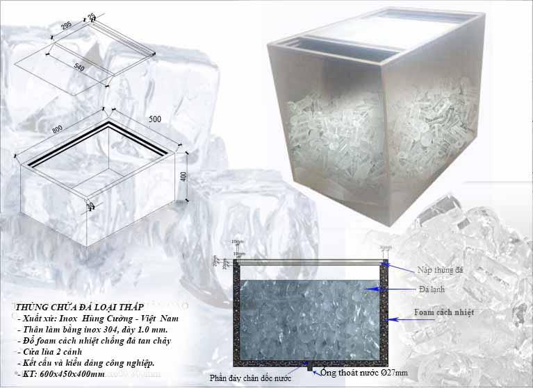 thùng đá inox, thùng chứa đá inox