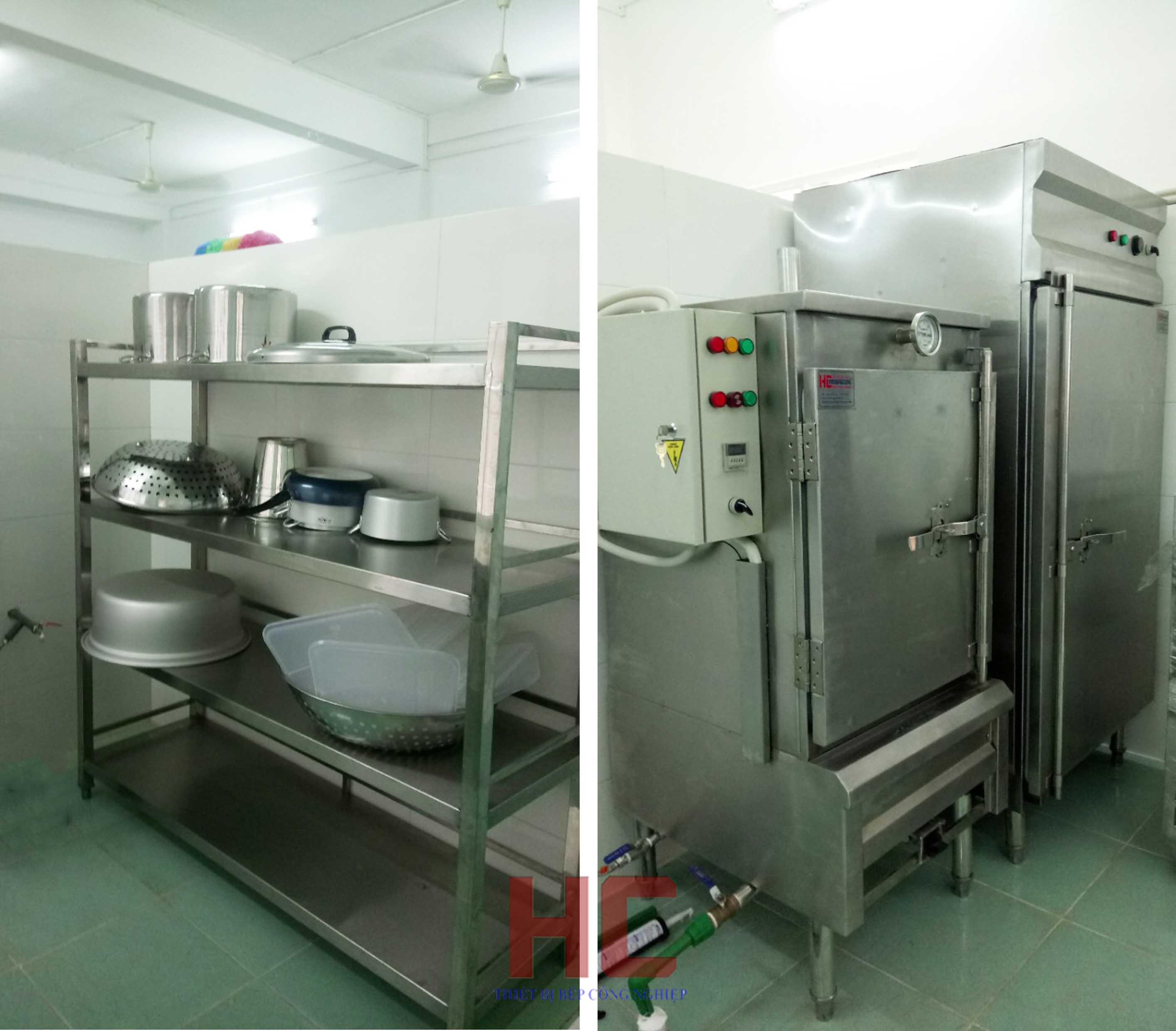 Trường mầm non iSchool Ninh ThuậnKệ phẳng chuyên dụng và tủ hấp cơm với công suất lớn