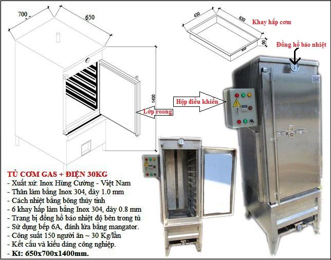 tủ hấp cơm, cơm công nghiệp