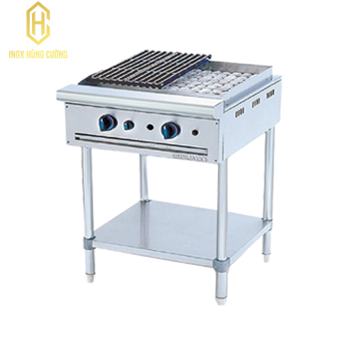 Bếp nướng than đá nhân tạo 2 họng chân cao