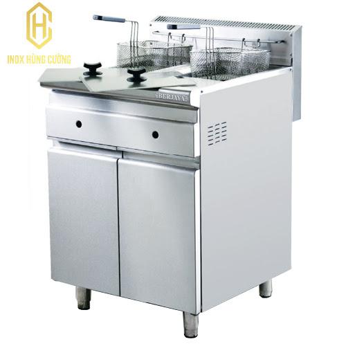 Thiết kế bếp chiên nhúng đôi dùng gas với hộc tủ tiện dụng